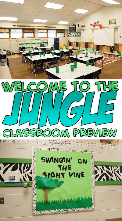 Such a cute jungle classroom theme...the decorations are all inexpensive and easy to DIY! There are ideas for a rules tree bulletin board, a tiki hut reading area, and activities for a kindergarten/first grade classroom.