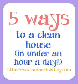This site has daily and weekly cleaning schedules! Clean one room a week, and start over at the beginning of each month! http://www.lambertslately.com/2012/08/5-ways-to-clean-house-in-under-hour-day.html