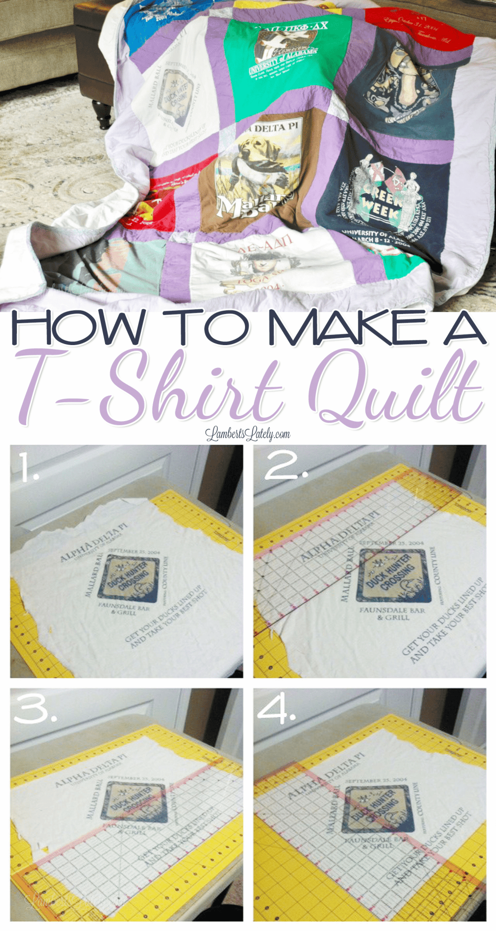 This is a great tutorial for how to make a T-Shirt Quilt out of old sorority/high school shirts - the DIY pattern, layout, and assembly instructions make it so easy, even for beginners!