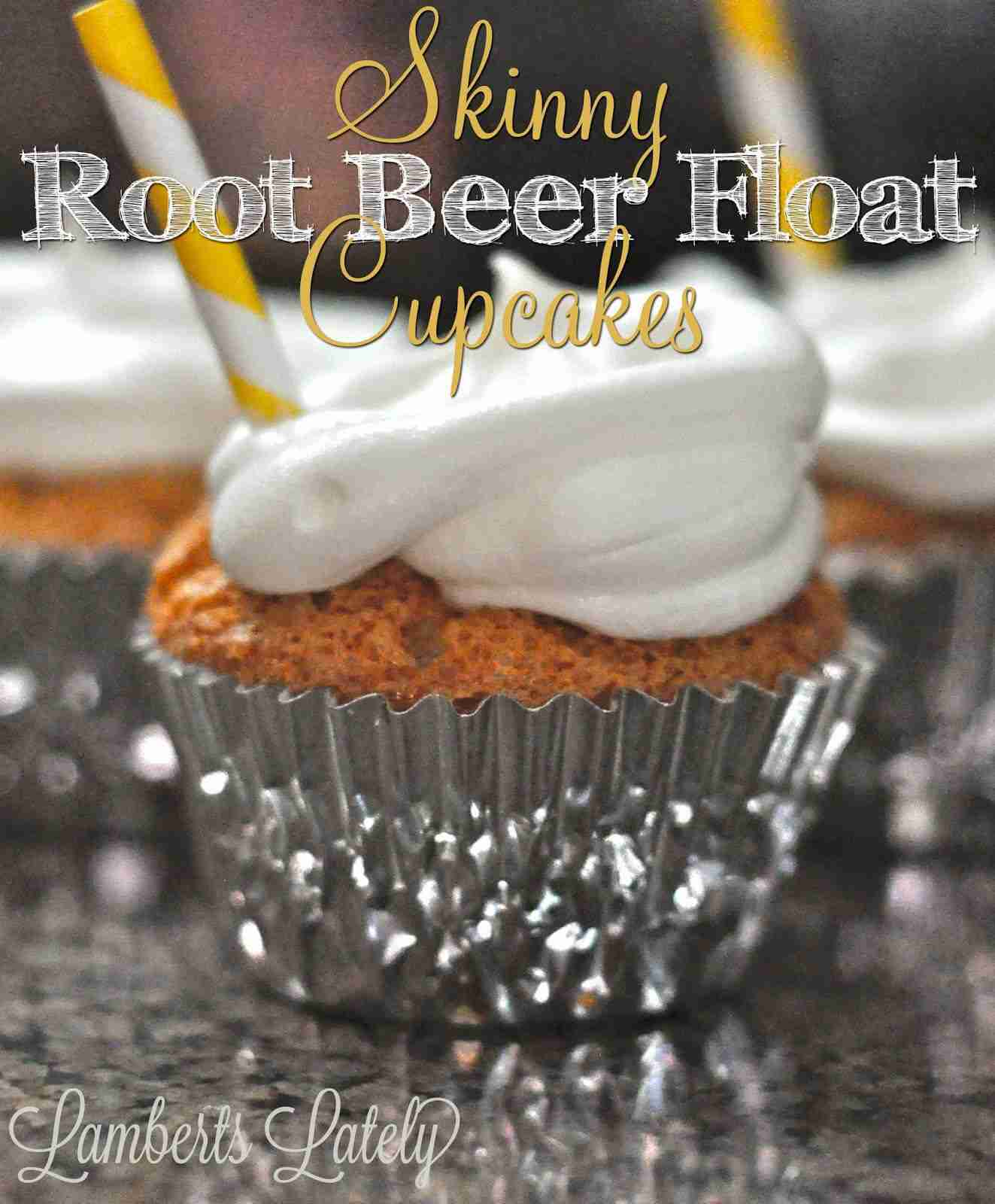 Skinny Root Beer Float Cupcakes - great cupcake recipe with under 100 calories in each one!