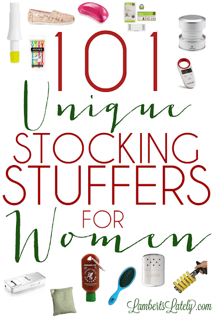 101 Unique Stocking Stuffers for Women...huge list of different small gift ideas for a woman, broken into categories (crafter, beauty guru, athlete, etc.). Great resource when shopping for wife or girlfriend - even mom or grandmother!