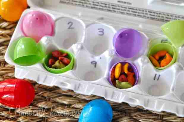 Great developmental counting game with leftover Easter eggs and Goldfish crackers!