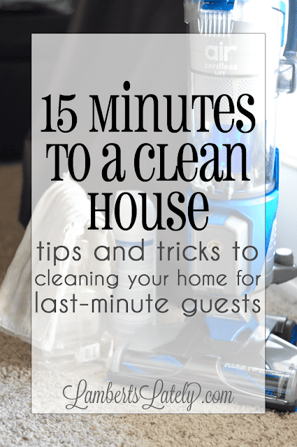 Great list of ideas for a last-minute cleaning routine!  Broken down into 15 minute or hour intervals.