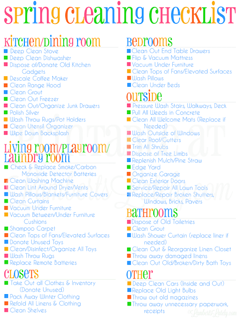 This is an awesome checklist for spring cleaning or deep cleaning your home! She even has a free printable version of the list. Matches her cleaning schedule that has over 100,000 pins on Pinterest!