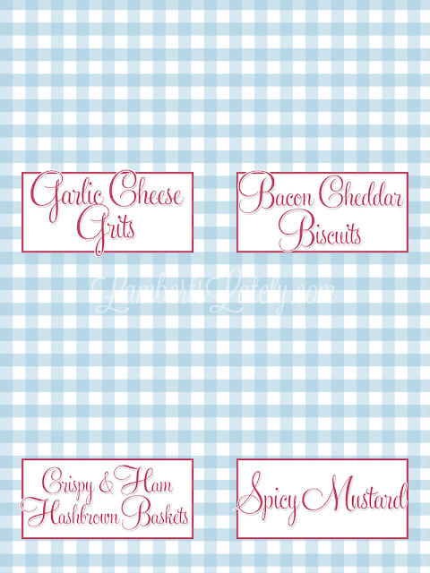 Love this menu for a Southern Christmas Brunch!  Free menu and food label printables included.