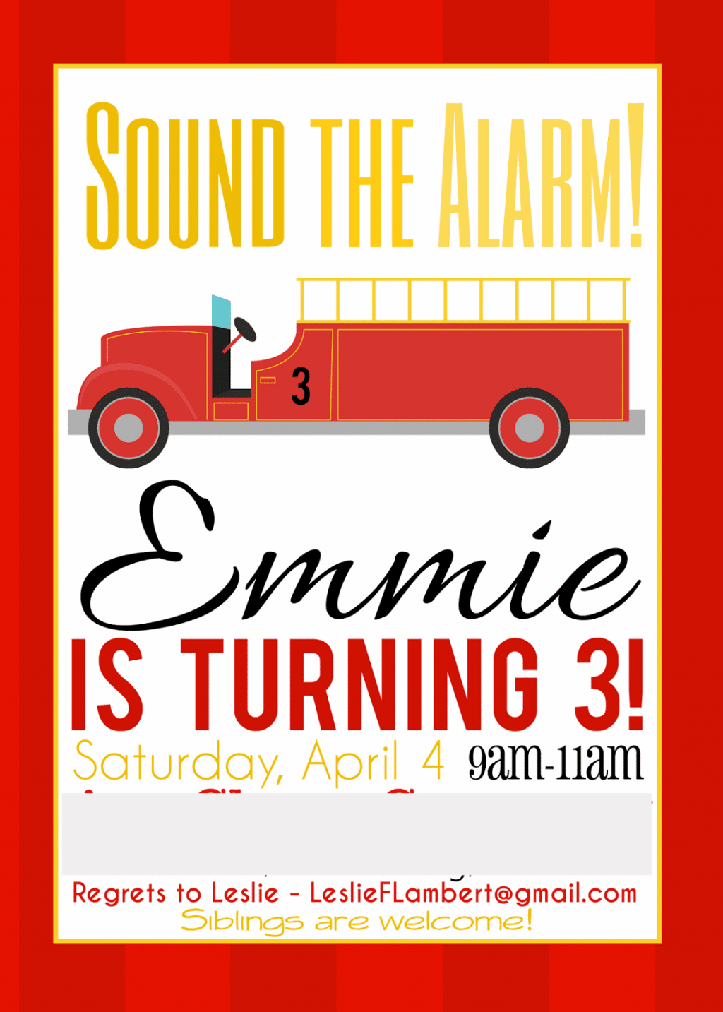 Emma Rameys Firetruck 3rd Birthday Party – Fire Truck Birthday Invitation
