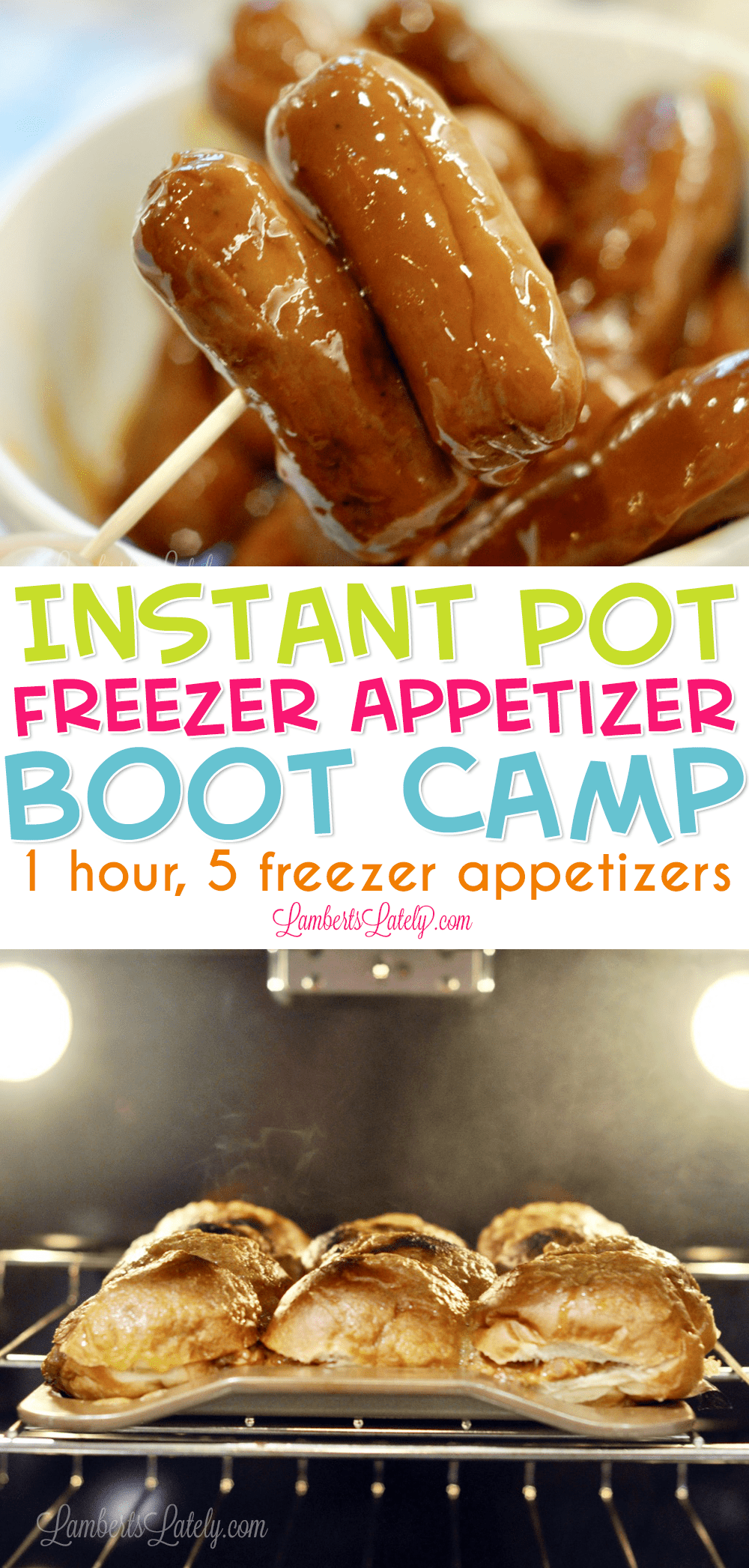 Instant Pot Freezer Meal Appetizer Boot Camp gives you five pressure cooker finger food recipes (Root Beer Little Smokies, Creamy Fiesta Dip, Spinach Artichoke Dip, Zesty Meatballs, Sloppy Bacon Cheeseburger Sliders) that can be made ahead of time for holiday parties or get-togethers! #instantpot #freezermeals #makeaheadmeals #appetizers