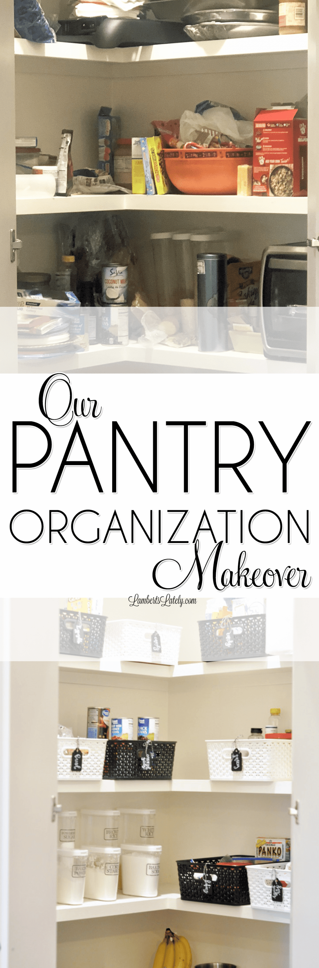 The before and after of this DIY pantry organization makeover is awesome! She completely redid her walk-in pantry on a budget with cute, farmhouse touches.