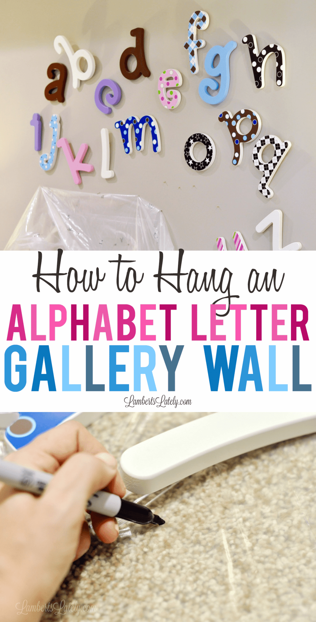 How to Hang an Alphabet Letter Gallery Wall - everything from frame layout to to tips on how to use a drop cloth as a template.  Good post for following the right way to do this DIY!