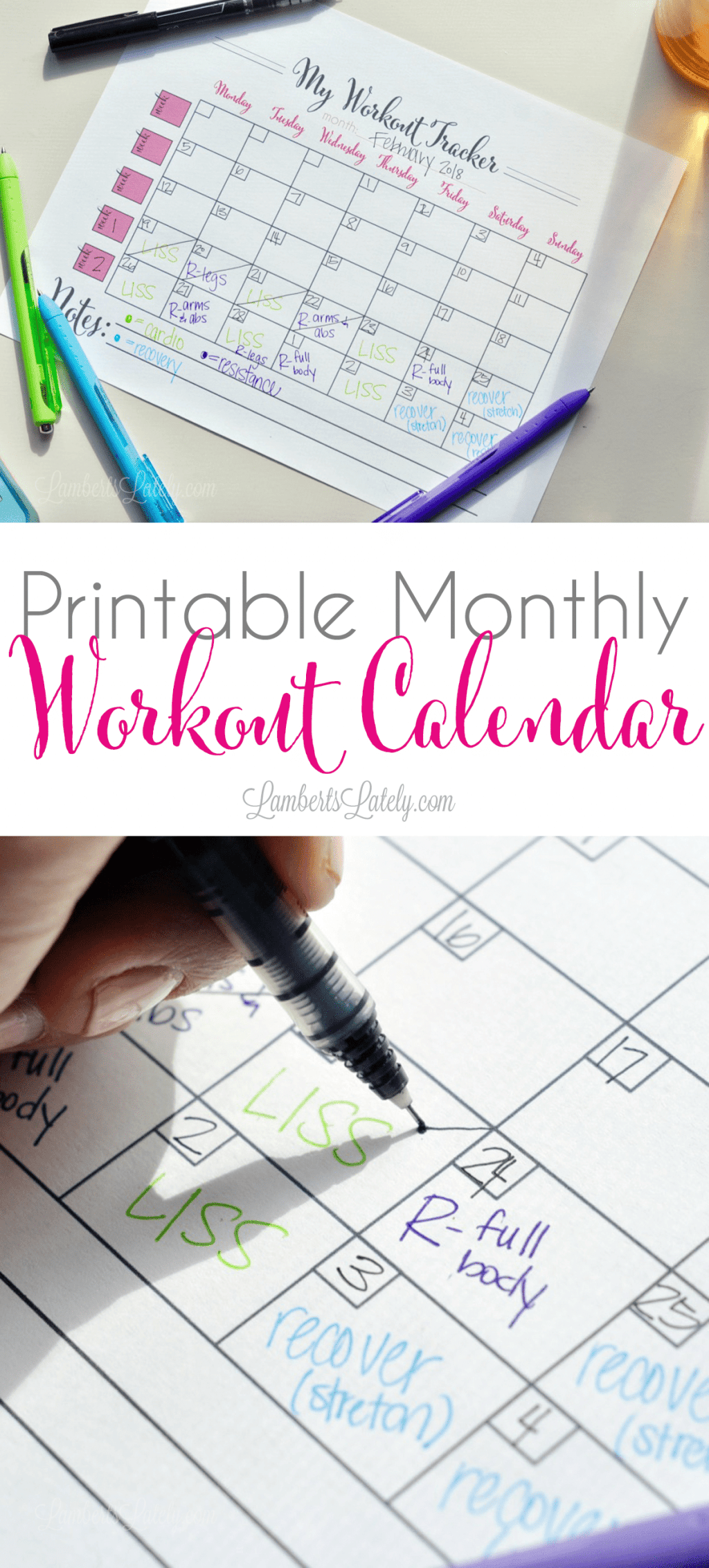 This printable monthly workout calendar is perfect for with getting a plan for your exercise routine. Use with Kayla Itsines' BBG program or another fitness/gym plan!