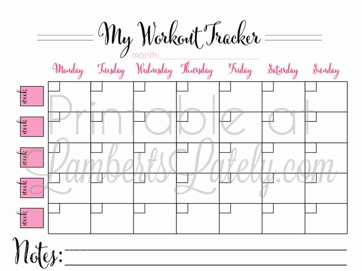 Printable Monthly Workout Calendar Lamberts Lately