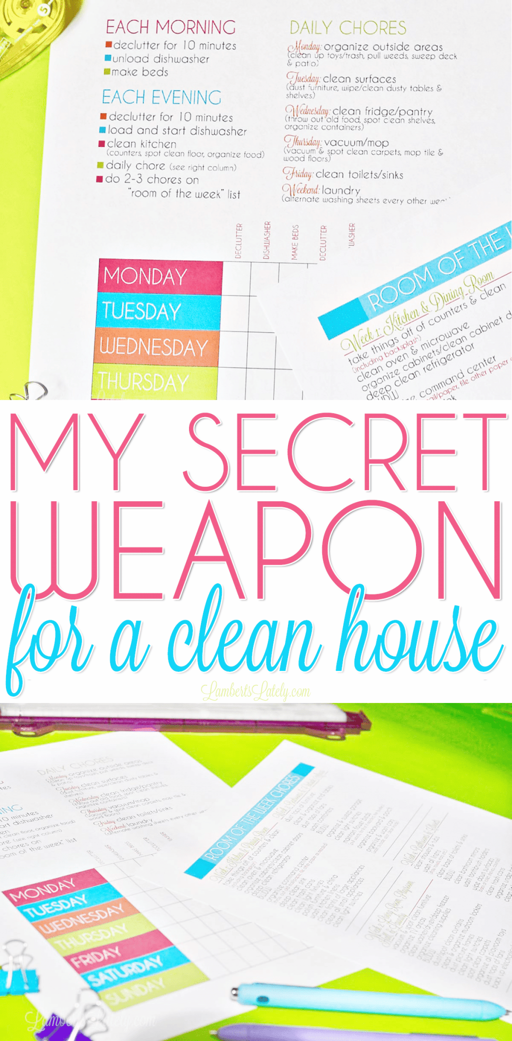 This is an awesome free printable cleaning schedule checklist! I love the bright colors and the fact that it is for both a working mom and a stay at home mom. This template makes weekly/daily cleaning so simple!
