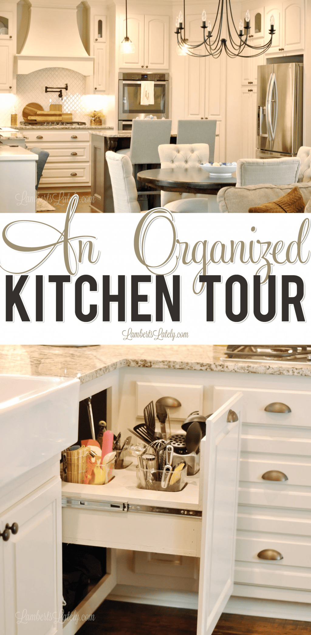 Check out this organized kitchen, complete with storage ideas, ways to declutter your cabinets and drawers, and custom cabinet designs that will maximize your space!