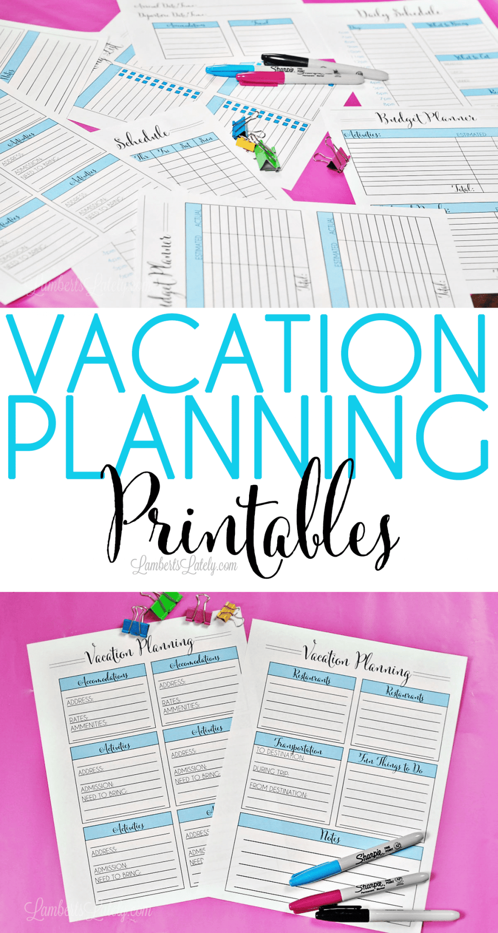 Love this set of free vacation planning printables! Organize your family trip with budget worksheets, packing checklists, and ways to organize places to visit & food ideas.