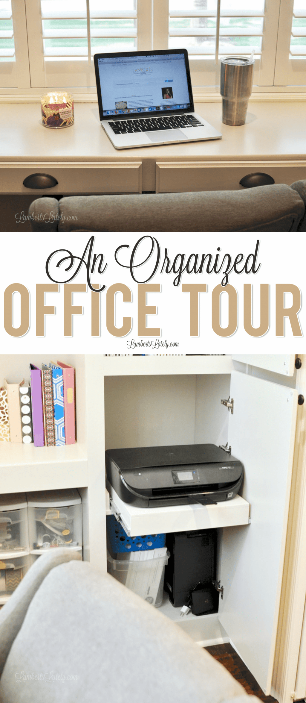 Take a tour of our organized home office space, complete with tips on storing supplies, eliminating clutter, and decorating with inexpensive/functional supplies!