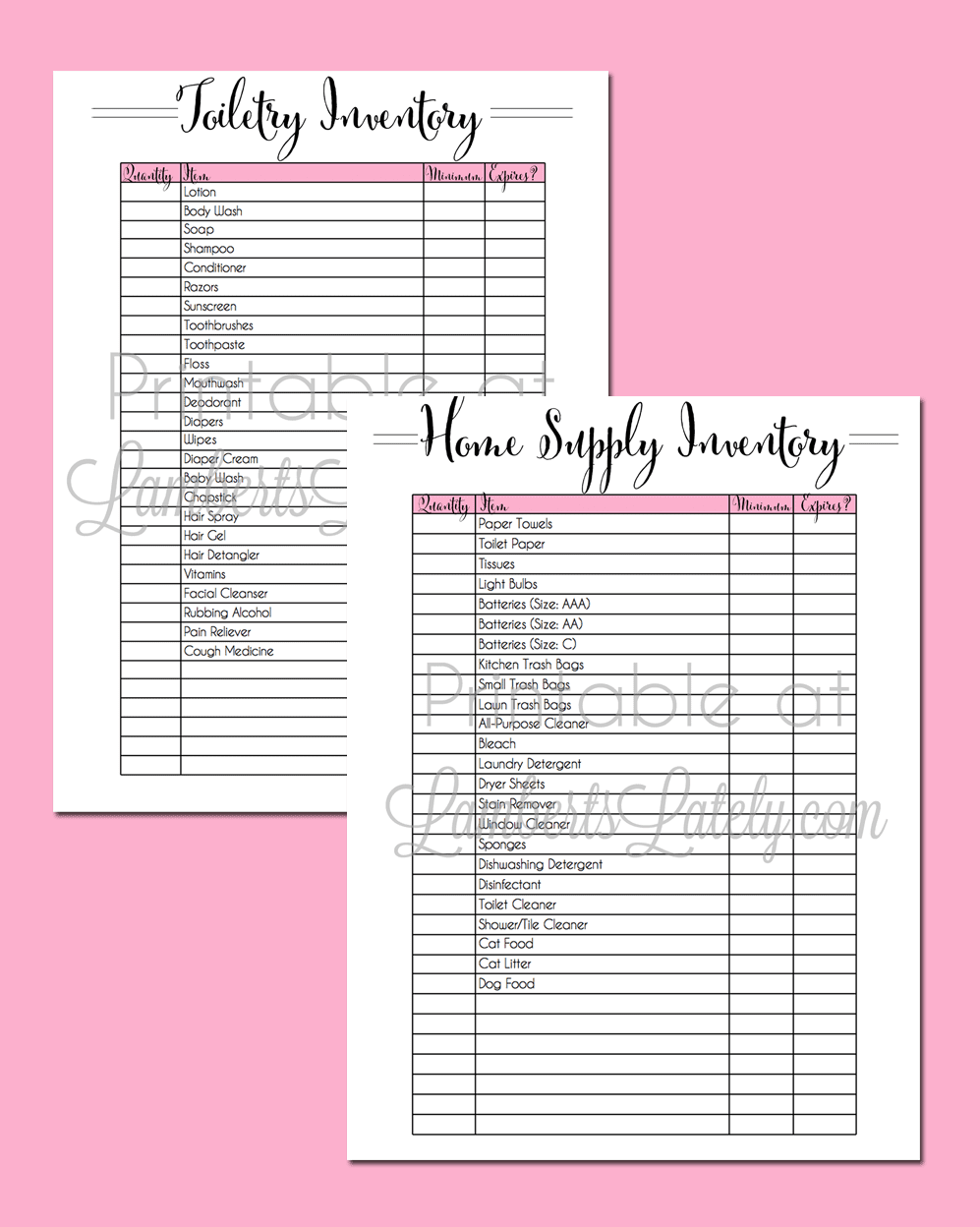 Great free printable toiletry and home supply inventory sheets - manage your home efficiently!