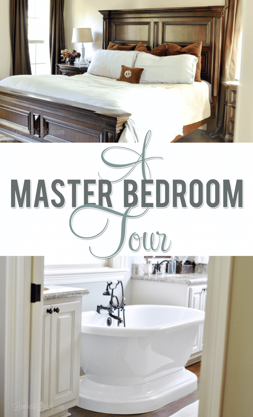 This post has tons of ideas for a master bedroom & bathroom, including organization techniques, paint colors, and decor/design ideas for furniture and bedding.