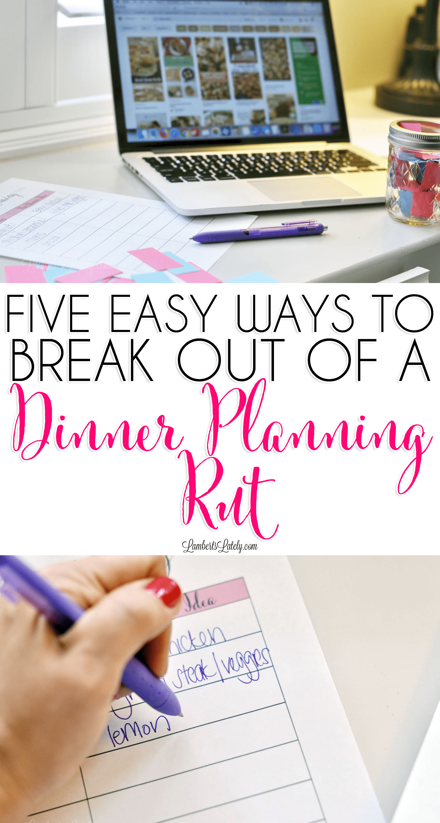 Grab a few ideas for how to break out of a dinner planning rut, including printables to organize meals and tips & tricks for meal planning for busy families!