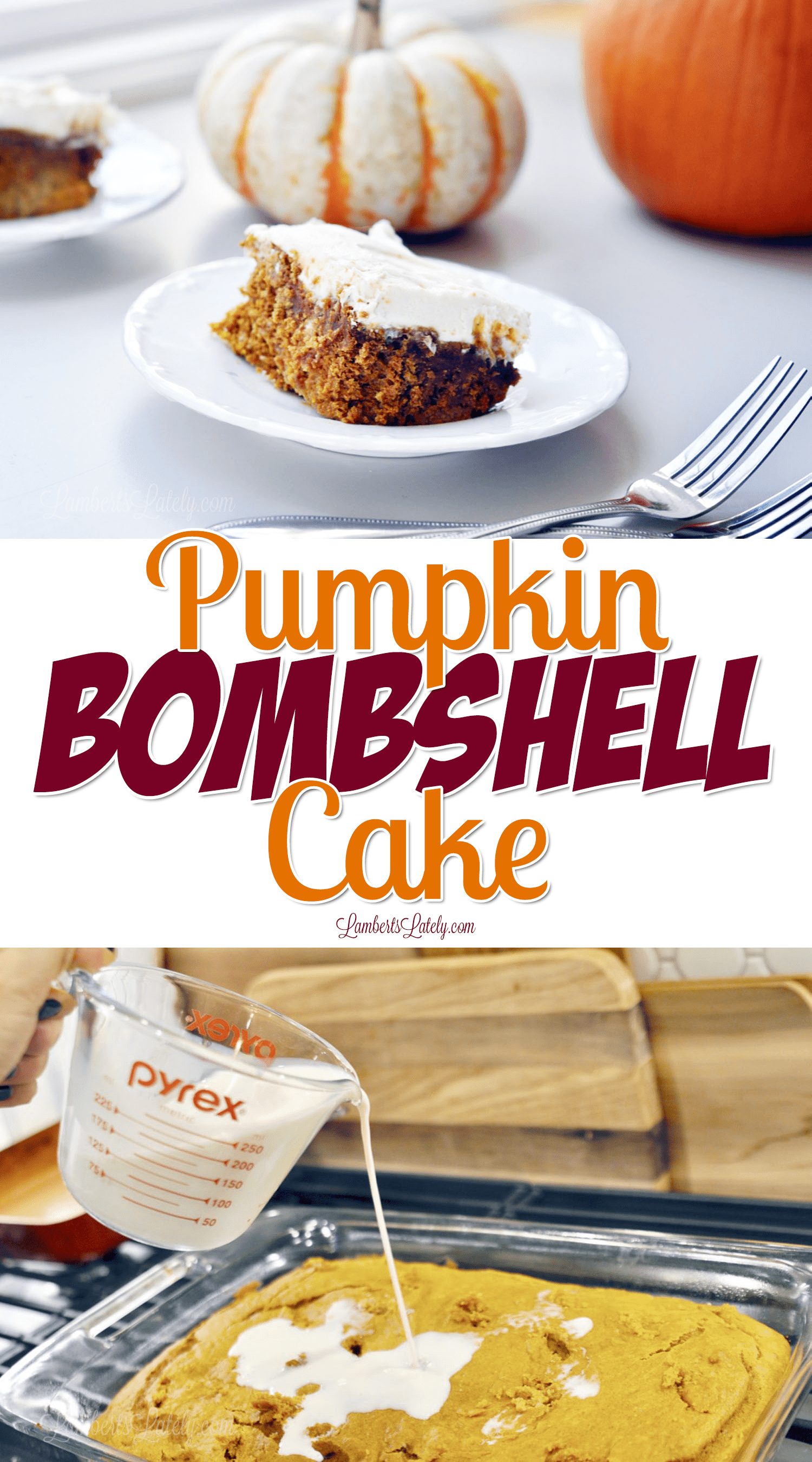 This easy Pumpkin Bombshell Cake with cream cheese frosting is one of the most simple recipes you're going to find for a fall dessert! Great way to make such a moist, rich cake from a box mix that's spiced up.