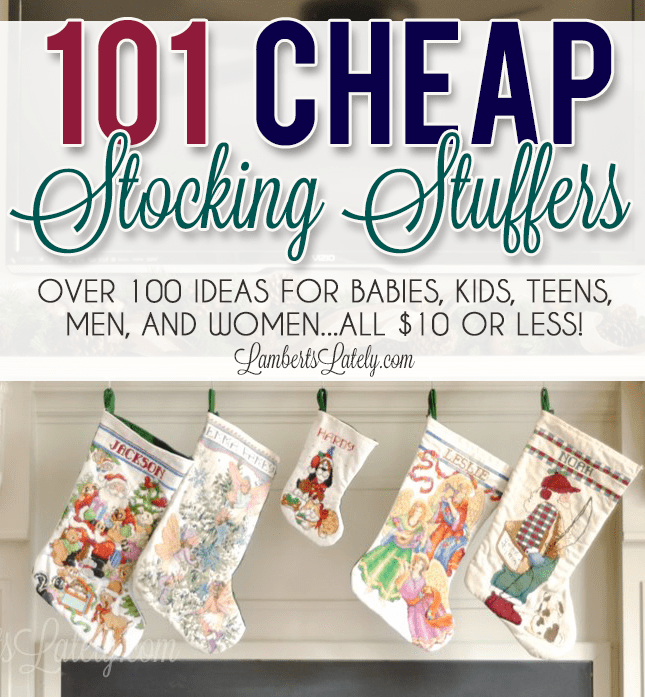 This list of over 100 cheap stocking stuffers has lots of ideas for babies, toddlers, adult men, women, teens, and kids (girls & boys). There's even a section of small, inexpensive DIY gifts!