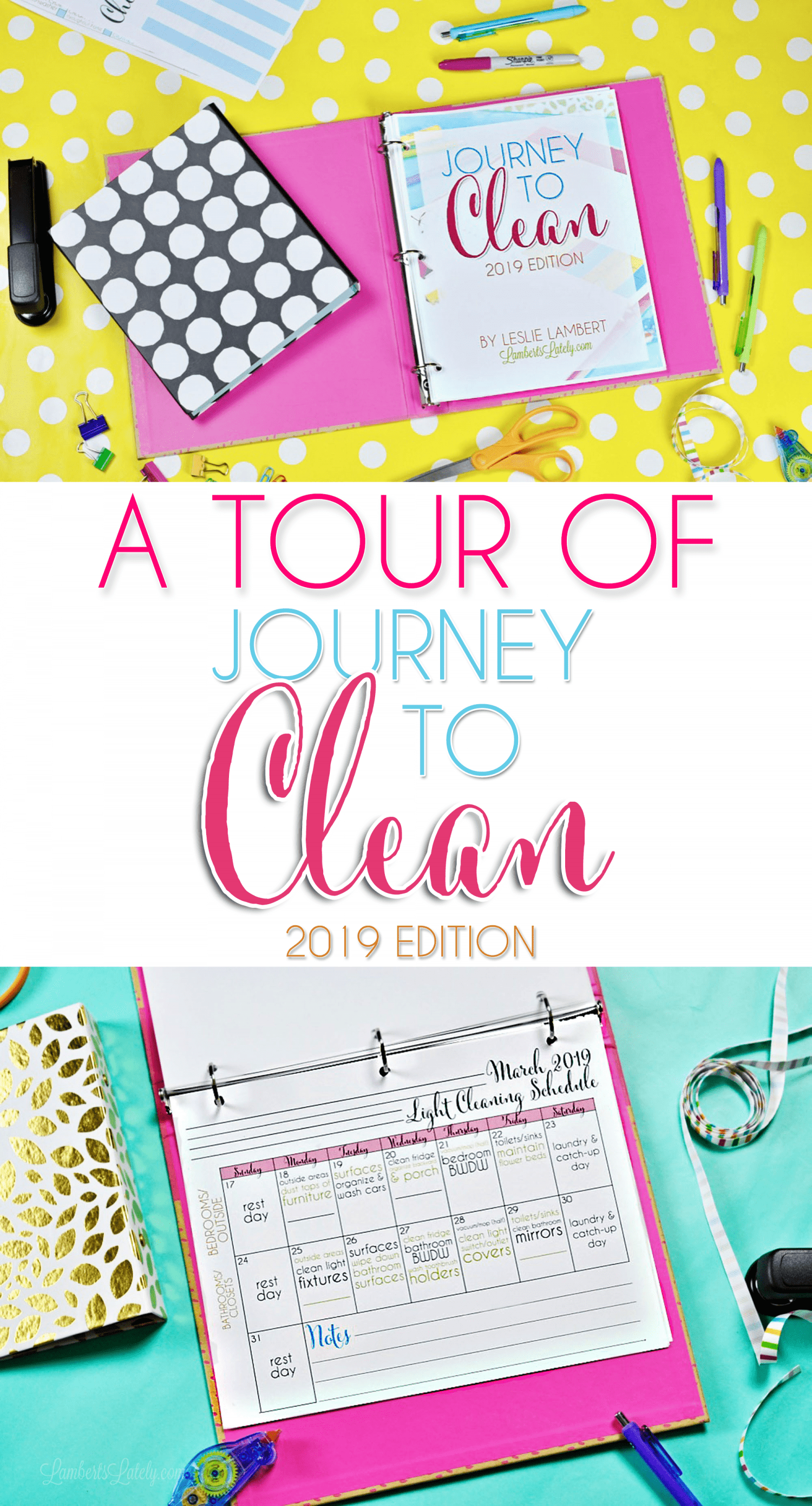 This complete set of cleaning notebook printables lets you plan every day of home maintenance for 2019! See a full tour in this post.