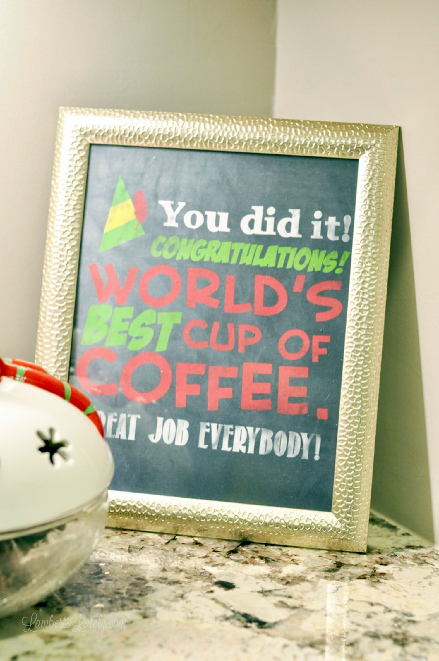 Cute, free Buddy the Elf quote printable for a coffee bar/station - such a fun Christmas decor piece for a kitchen!