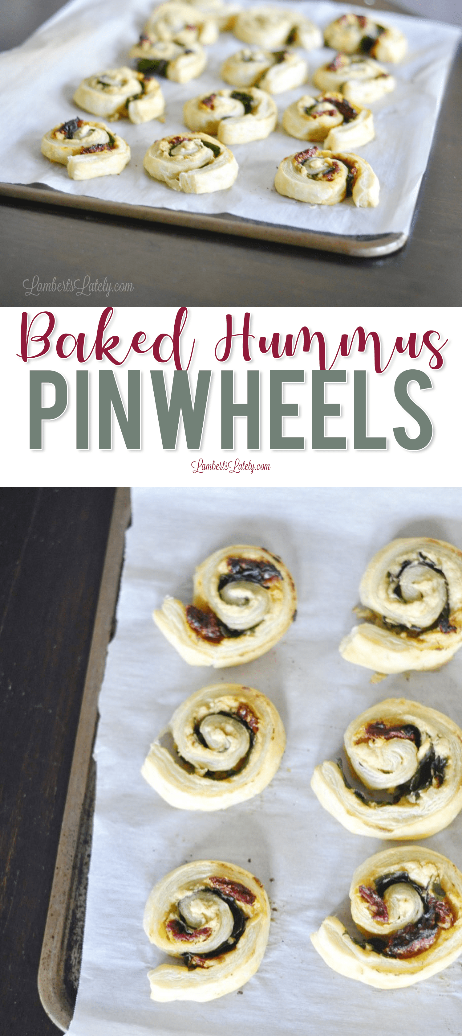 Baked Hummus Pinwheels are perfect for a warm hummus appetizer recipe! Uses the popular dip combined with sun dried tomatoes and spinach, rolled in puff pastry.