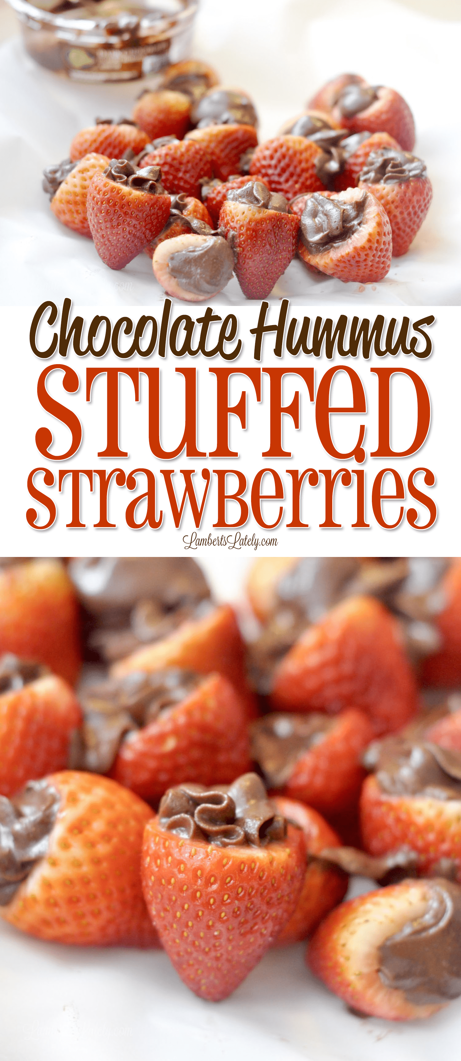 Chocolate Hummus Stuffed Strawberries are such a fun dessert! This healthy snack combines rich fruit and dark chocolate. If you're wondering what to do with chocolate hummus, this is it!