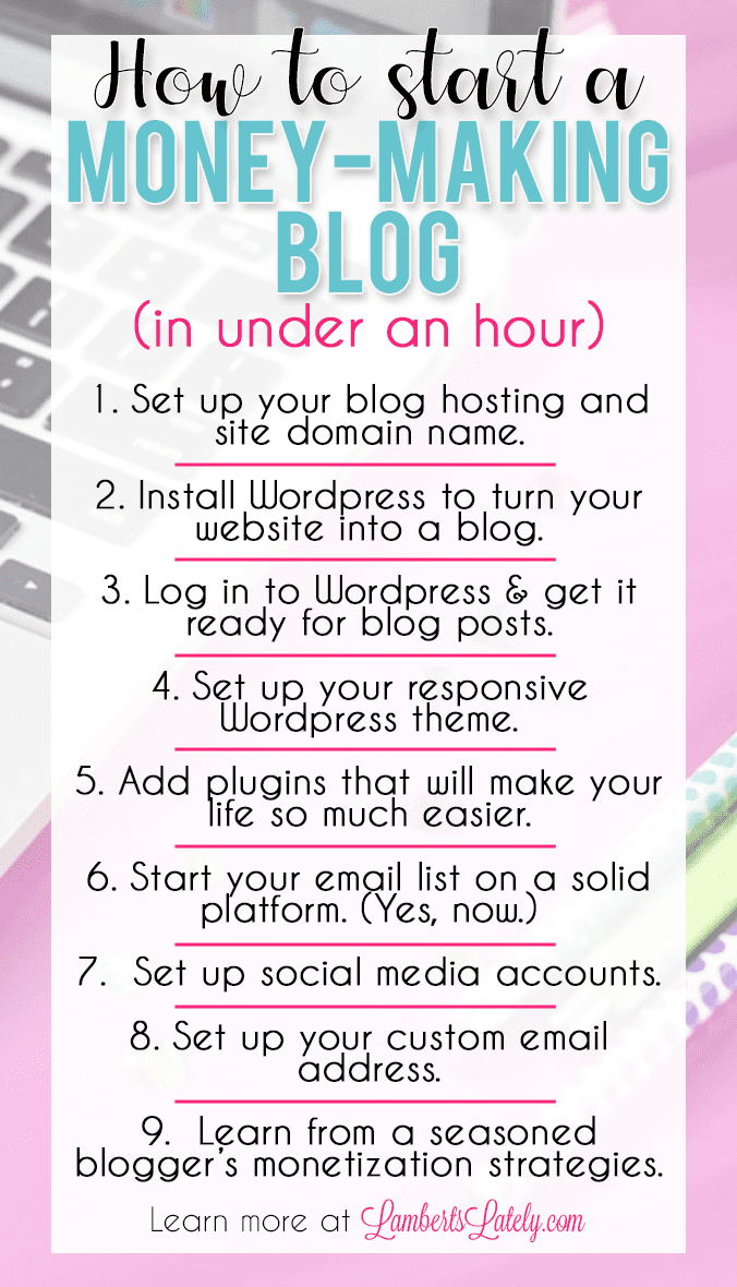 This guide on how to start a blog from scratch in 2019 (and how to make money from it) is great for beginners! You'll get step by step instructions on picking hosting, installing wordpress, and finding plugins to help you with SEO optimization and social media.