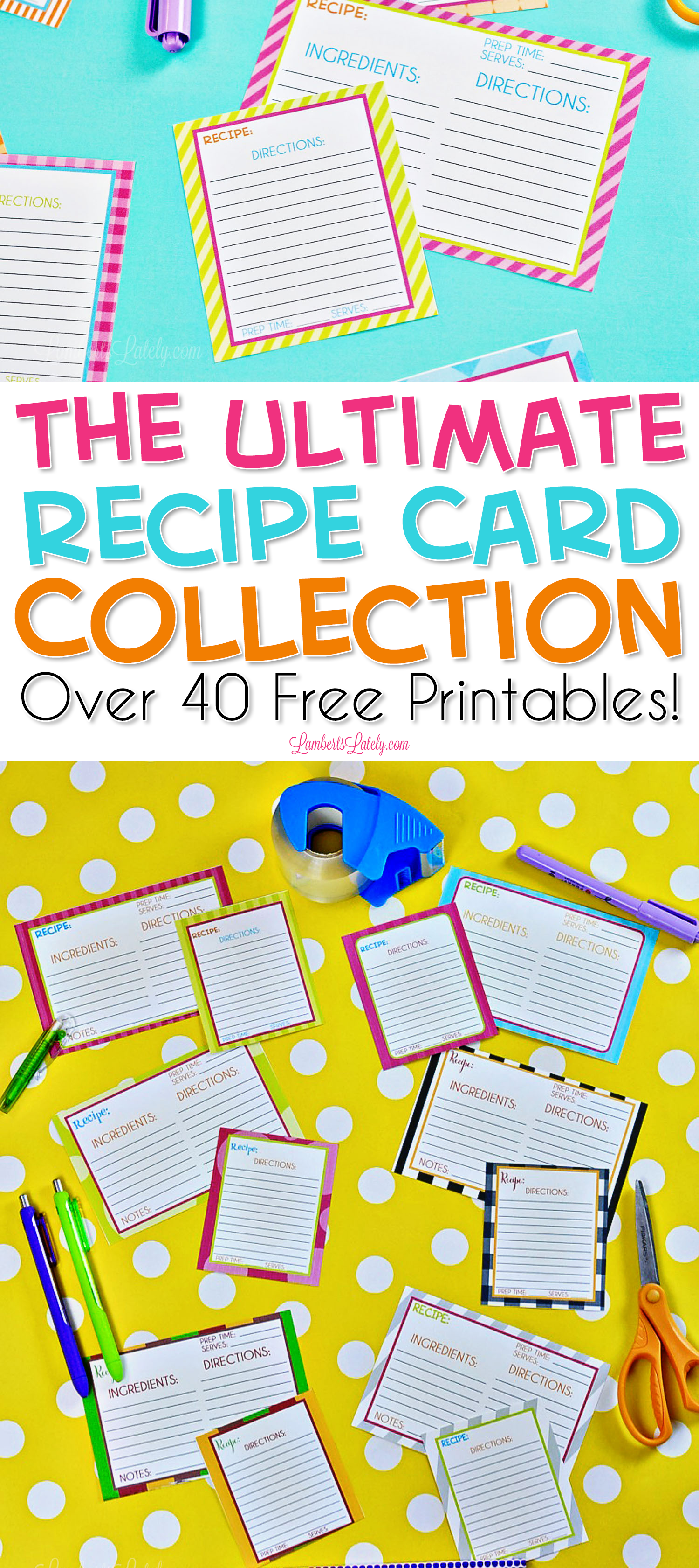 These free printable recipe cards are so cute and colorful! The easy blank template includes places for ingredients & directions and the design is perfect for a DIY recipe collection.
