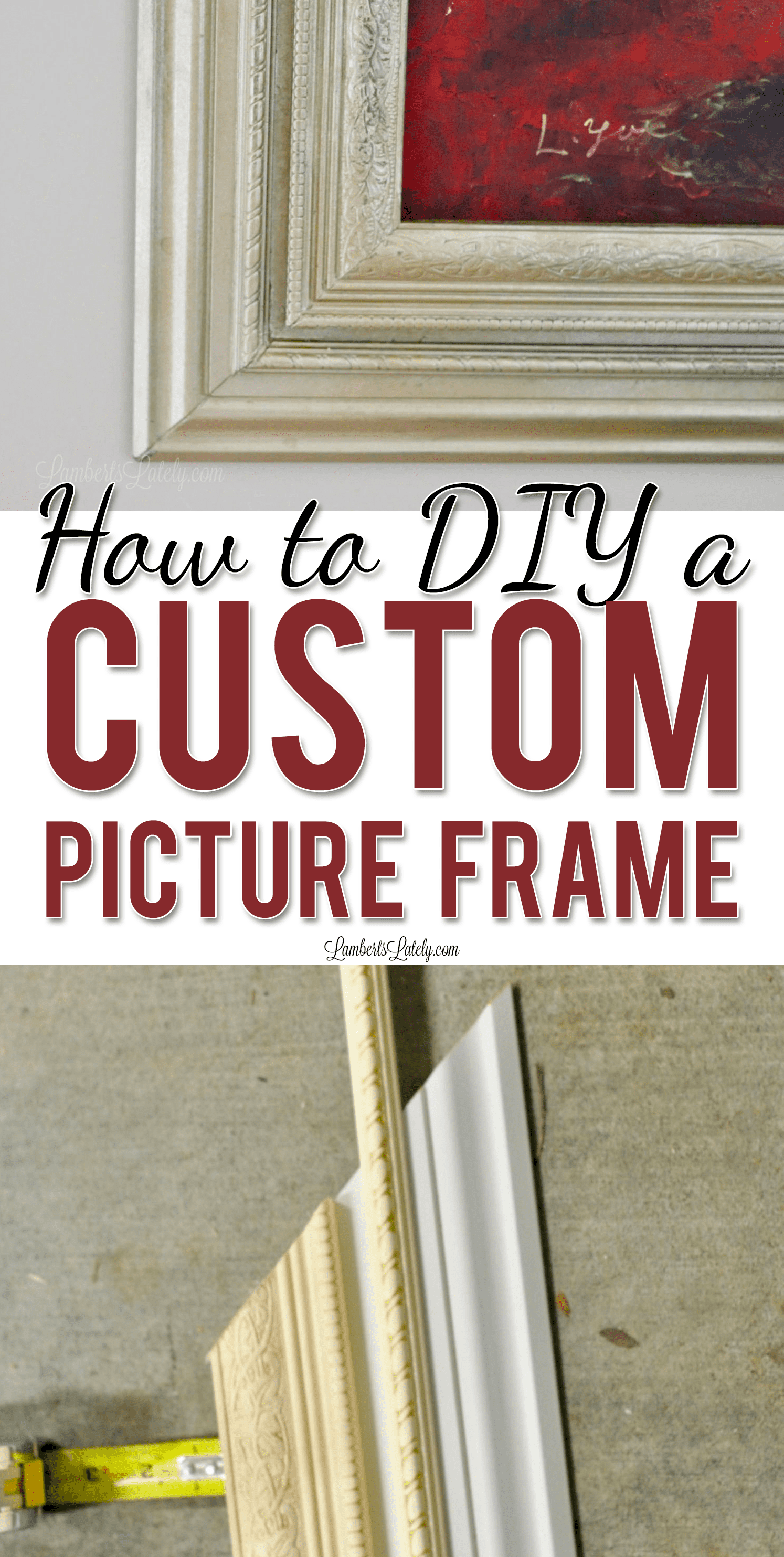This tutorial for how to build a custom picture frame with baseboard and decorative trim moulding makes a great, ornate frame for canvases. Includes ideas on how to paint the frame with a gold/antique look with spray paint.