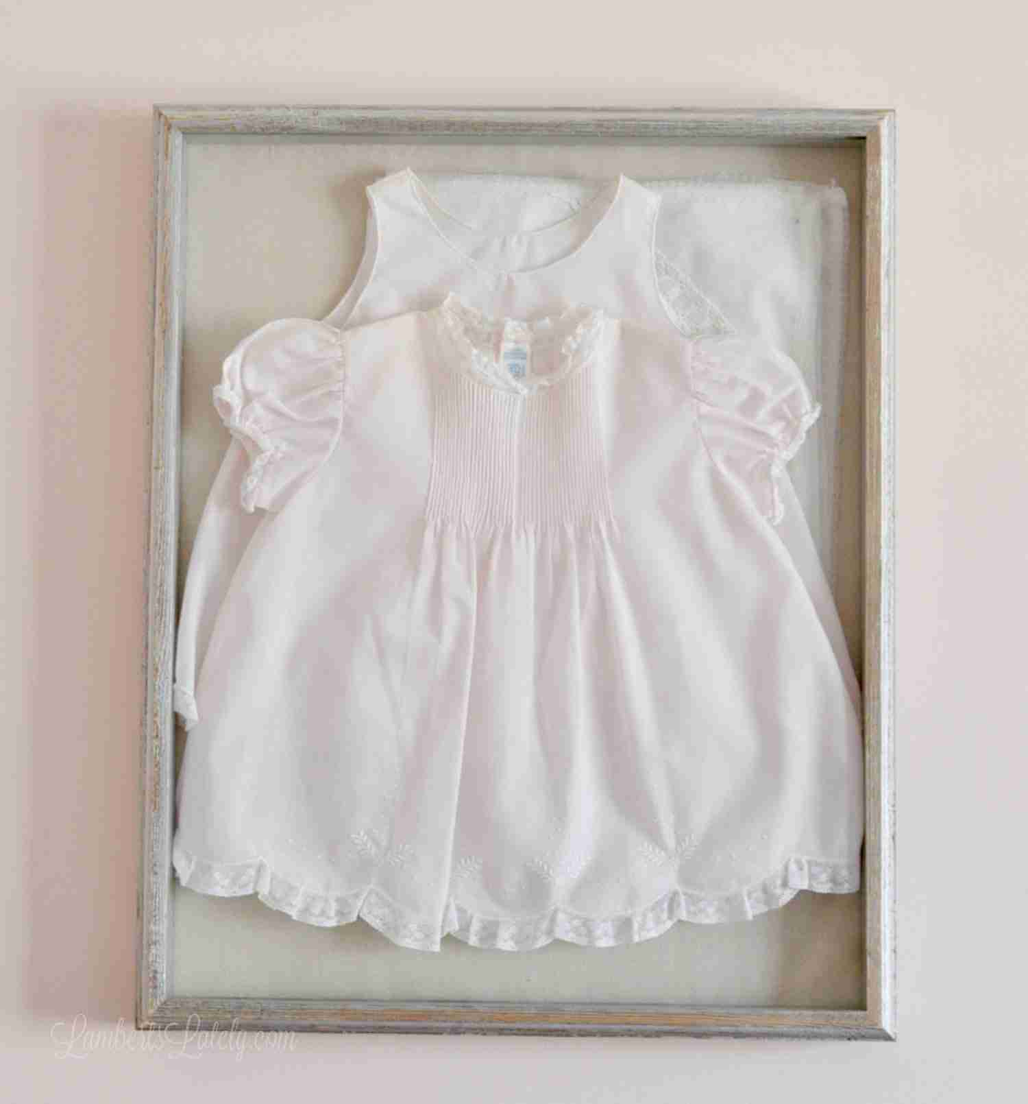 Display that special baby outfit in a shadow box! This is a cute idea for a child's room or a nursery.  You could use this idea for any newborn clothes - includes step-by-step instructions for doing the cheap DIY.