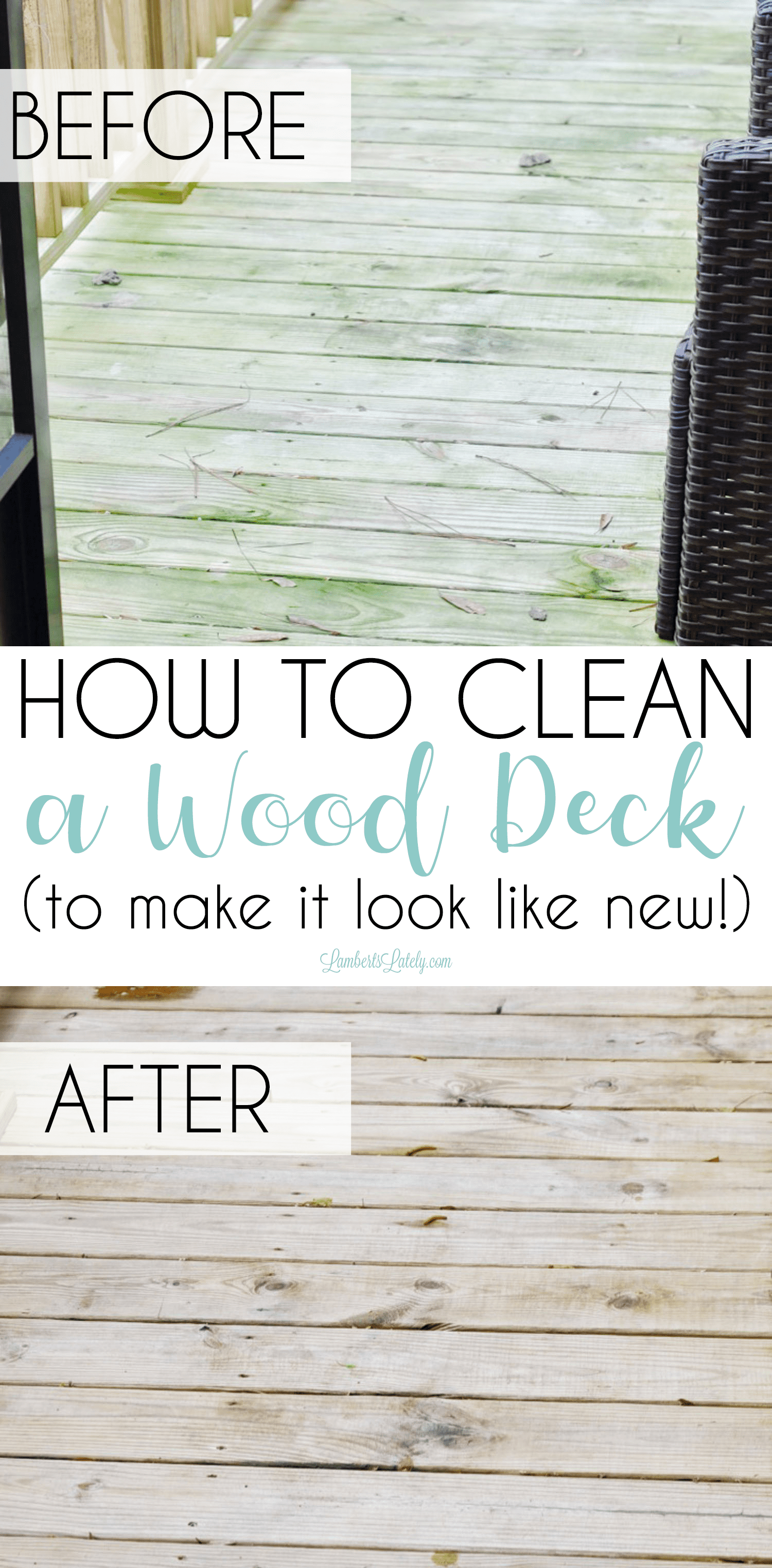 This post has great methods for cleaning a wood deck with both OxiClean and a more long-term product.  It shows how to remove stubborn green stains to make it look new for months! Methods can be used for other outdoor surfaces like driveways and patios too.