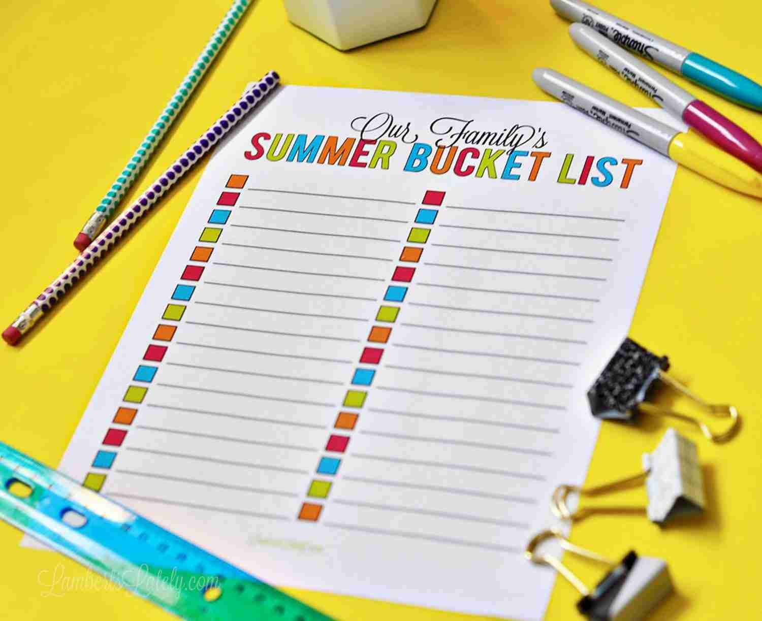 This summer bucket list is perfect for preschoolers, kids, and teens - lots of ideas for the whole family! You can also get a free printable list to organize every activity.