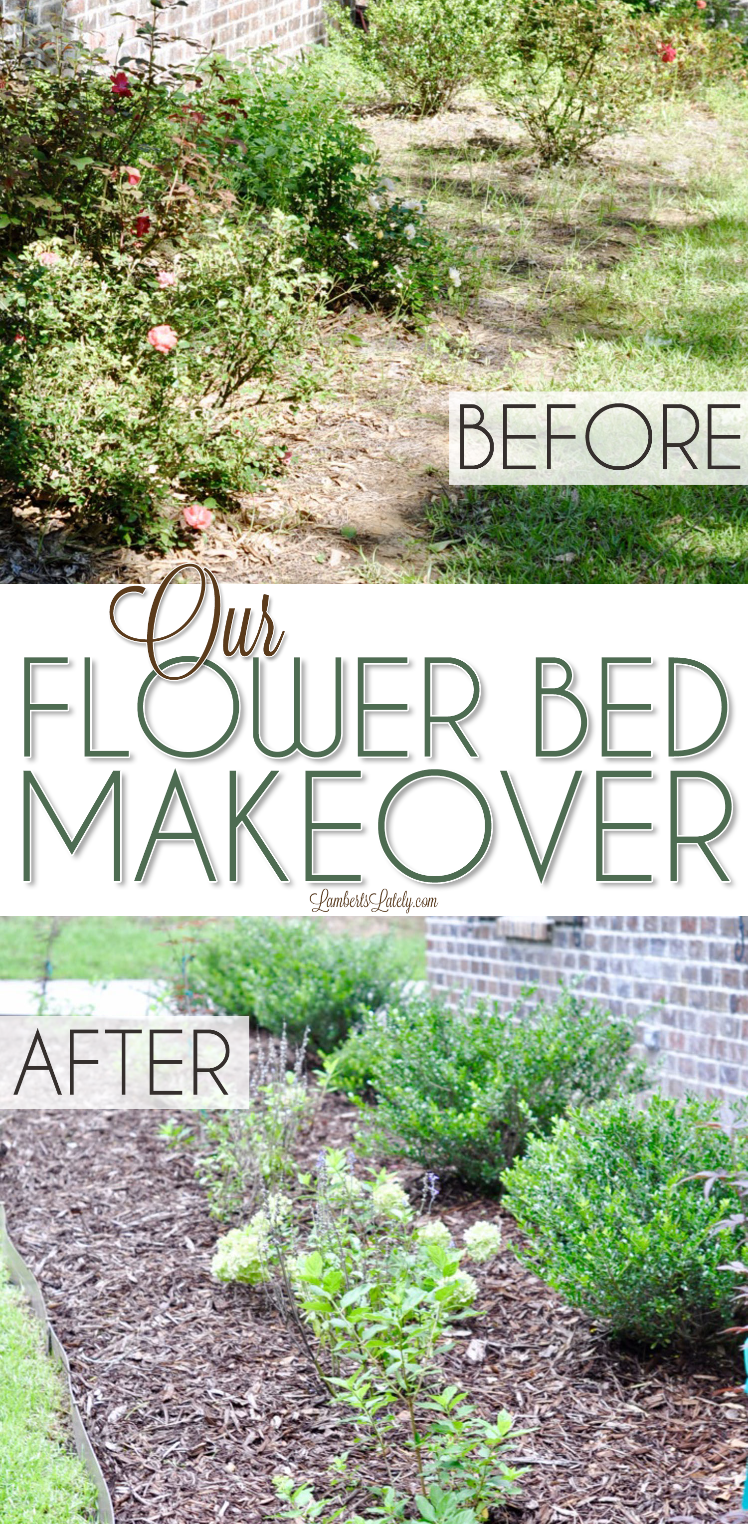 This flower bed makeover shows how to design and DIY your own beds to add major curb appeal! It goes through plants used, edging, and how to work with existing spaces to make your front yard gorgeous (and easy to upkeep).