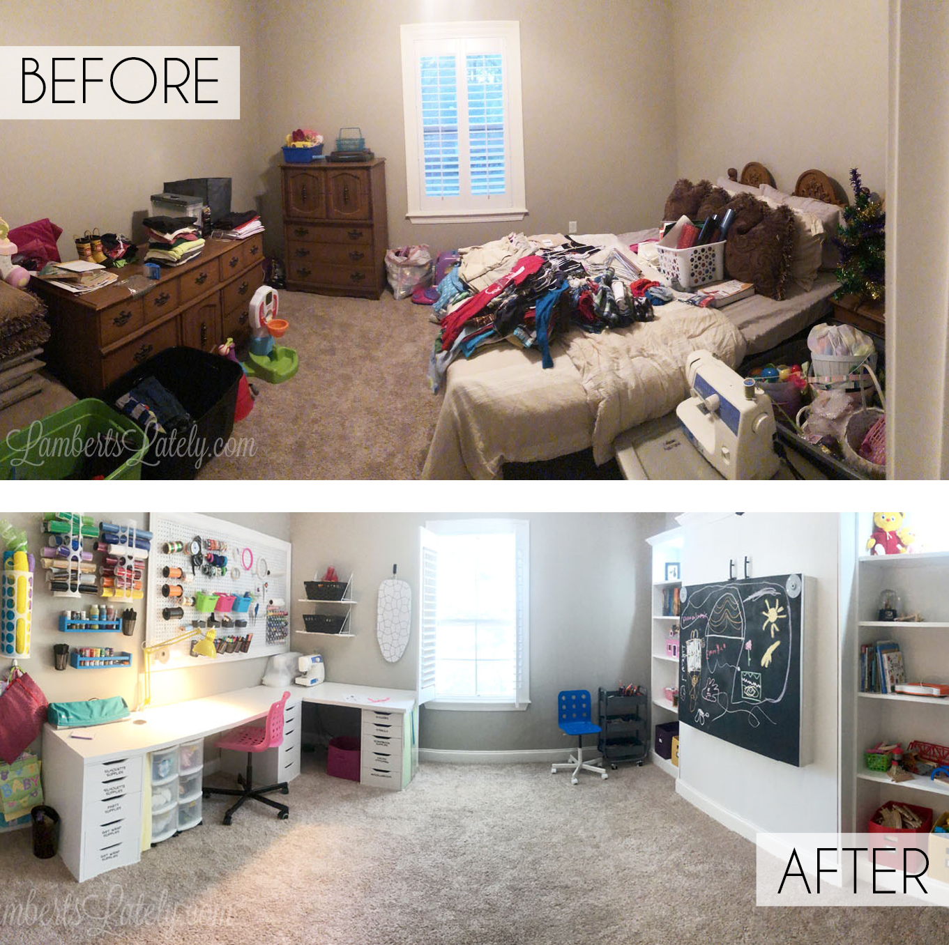 Take a tour of a craft room / guest room combo, complete with great organization ideas, simple storage solutions, and ways to design a space that is both beautiful and functional (whether big or small).