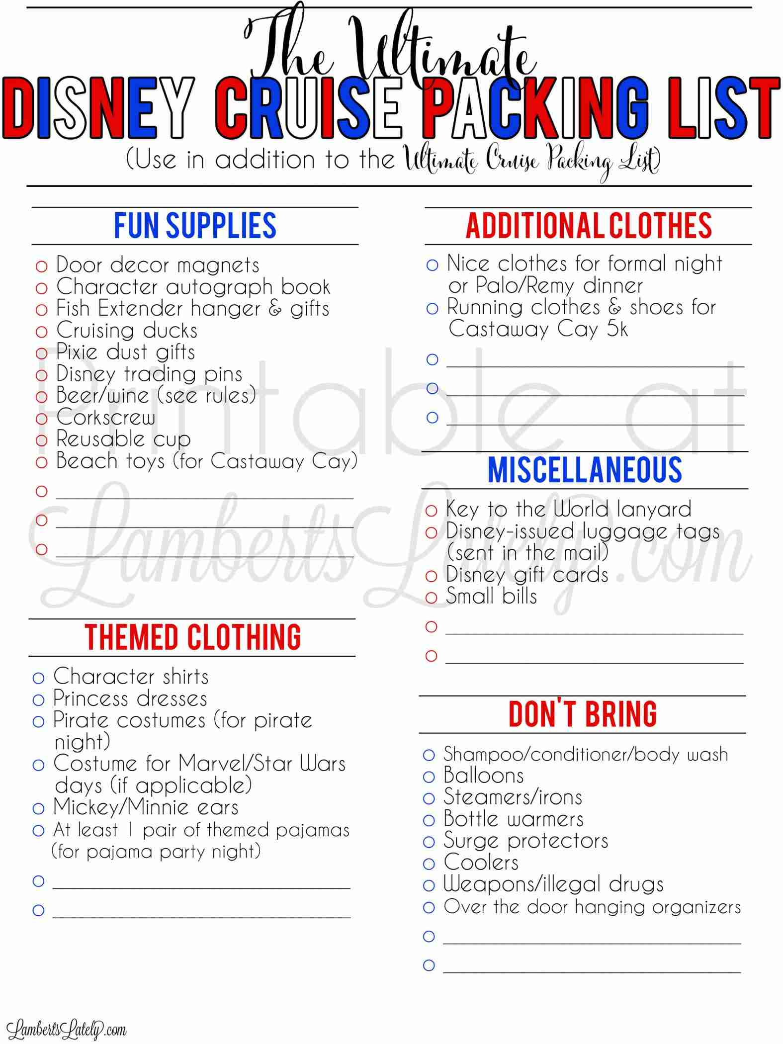 Grab a free printable Disney cruise packing list and ideas for what to bring (and not to bring) on your Caribbean vacation. Includes tips for families with kids, things to bring to Castaway Cay, and how to pack for events on a 7 day cruise.