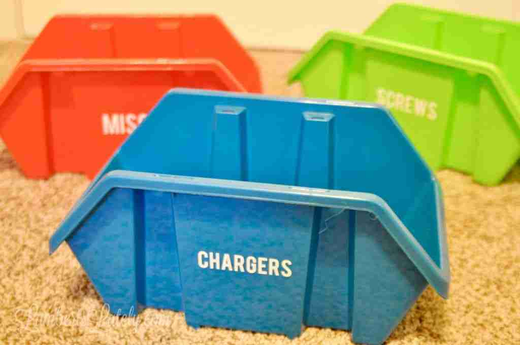 Learn how to make DIY storage bin labels (using dollar store containers) using a Cricut Joy machine. Make labels with vinyl for garage, kitchen, or attic organization!