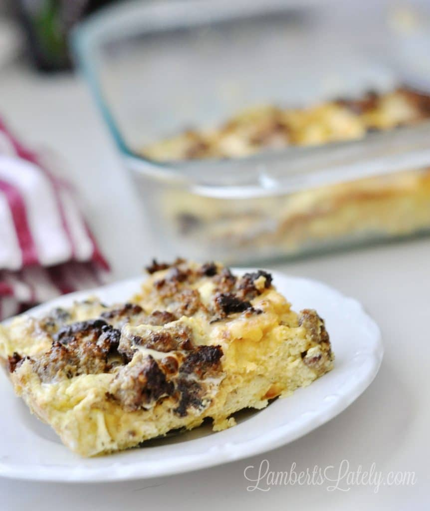 This recipe for Overnight Sausage Breakfast Casserole is a great make-ahead breakfast dish! With basic ingredients like bread, sausage, cheese, and eggs, it's a hearty meal that's perfect for Christmas morning.