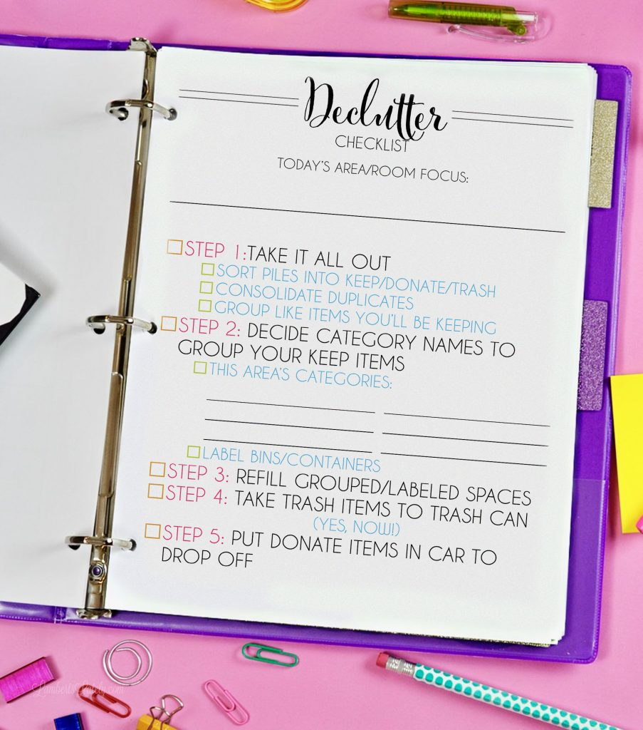 Grab this free printable decluttering checklist - it can be used for any room/space and walks you through the process of organizing your space step-by-step!