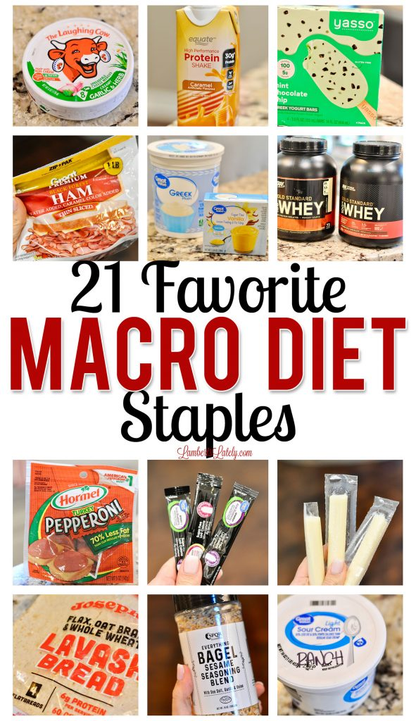 This list of 21 Macro Diet Friendly Staples is great for beginners! Get a list of food that's great for making simple recipes, including high protein options.