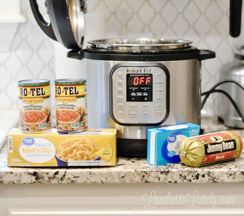 This recipe for Instant Pot Sausage Rotel Dip uses Velveeta, Rotel, cream cheese, and hot breakfast sausage to make an out-of-this-world tailgate appetizer that everyone will love! Can also sub ground beef or chicken for the meat.